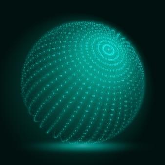 Esfera de big data verde con cadenas de números binarios.