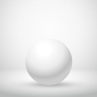 Esfera blanca en habitación vacía