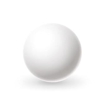 Esfera blanca realista círculo blanco en blanco con reflejos bola de billar snooker, bola de billar