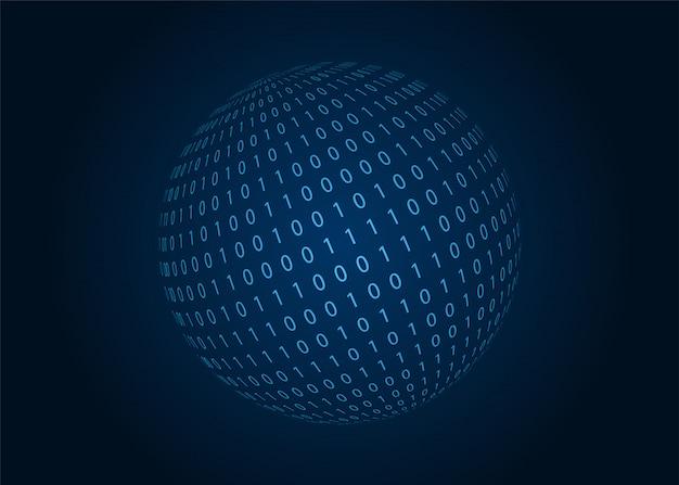 Esfera de código binario digital. fondo azul. ilustración.