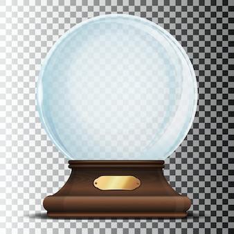 Esfera de cristal sobre un elegante soporte de madera con letrero dorado. globo de nieve vacío de navidad aislado en un fondo transparente. cúpula de cristal con resplandores. elemento de diseño de navidad. ilustración vectorial