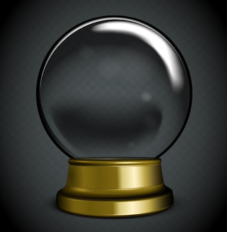 Esfera de cristal transparente blanca en un soporte con destellos y reflejos.