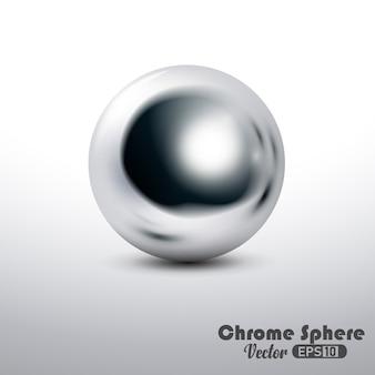 Esfera de cromo reflectante metálico