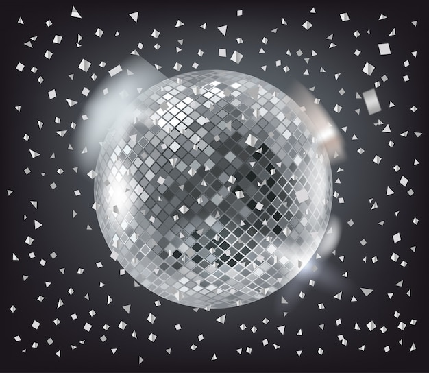 Esfera disco y confeti plateado sobre oscuro