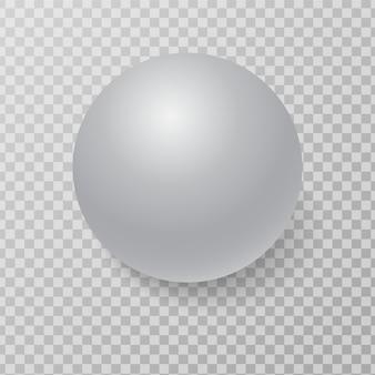 Esfera esfera blanca 3d con luz realista y sombra.