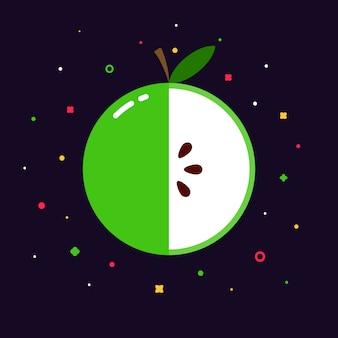 Esfera de fruta de manzana con logo de media rebanada, concepto de plantilla de diseño plano