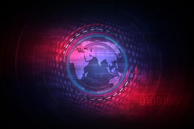 Esfera de la globalización futurista en el fondo del holograma
