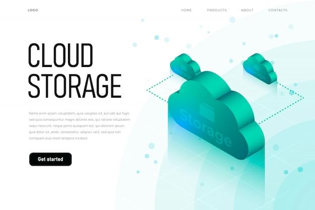 Esfera ilustración isométrica relacionada con la nube 3d. plantilla de página de destino de almacenamiento en la nube con nube isométrica, tecnología de alta tecnología,