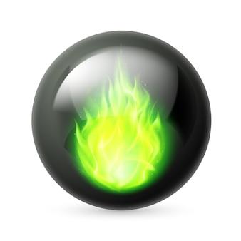 Esfera con llamas de fuego