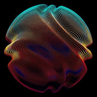 Esfera de malla colorida de vector abstracto en la oscuridad.
