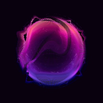 Esfera de malla de degradado sobre fondo oscuro