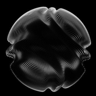 Esfera de malla monocromática abstracta sobre fondo oscuro
