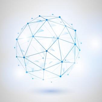 Esfera metálica vector poligonal malla 3d