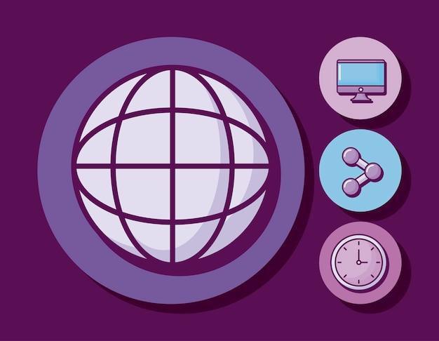 Esfera con monitor y set de iconos