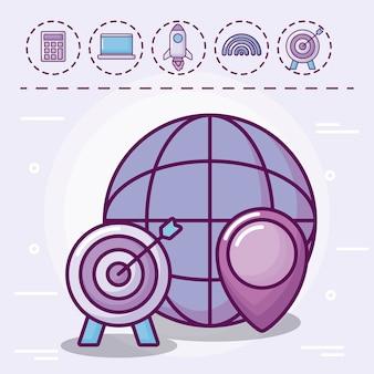 Esfera con objetivo y set de iconos
