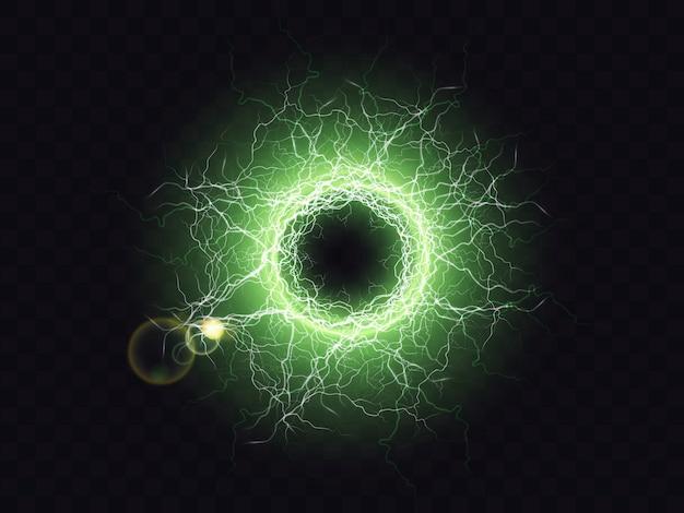 Esfera de plasma rayo en negro
