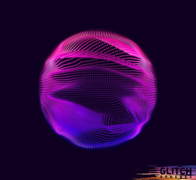 Esfera de punto violeta corrupta sobre fondo oscuro