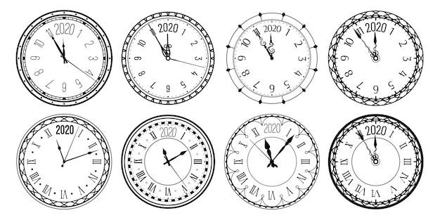 Esfera de reloj de cuenta regresiva de año nuevo, relojes antiguos y relojes para tarjetas de felicitación de navidad.
