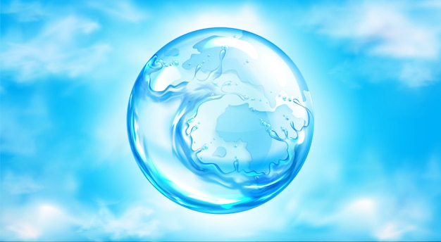Esfera salpicando agua en cielo azul