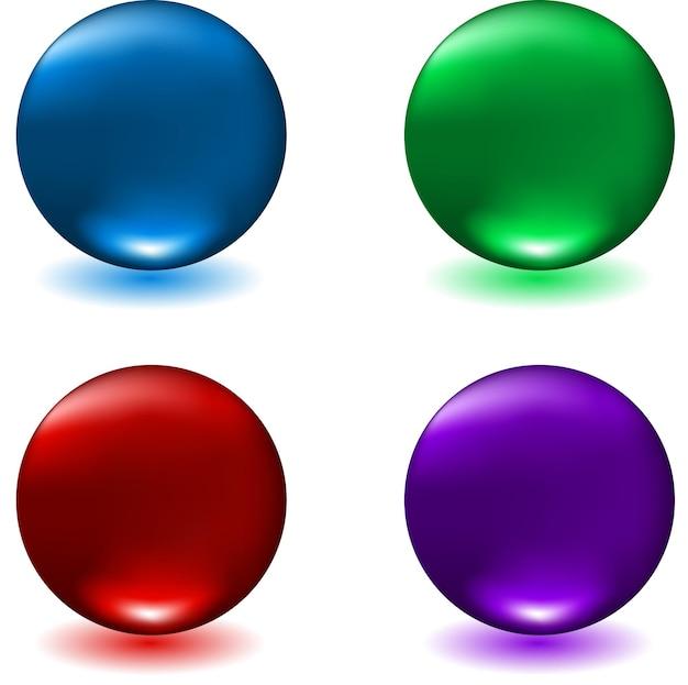 Esferas brillantes en cuatro colores diferentes.