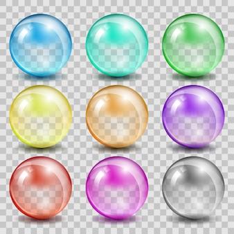 Esferas de color de vidrio abstracto. bola brillante transparente, reflejo de burbuja y brillante.