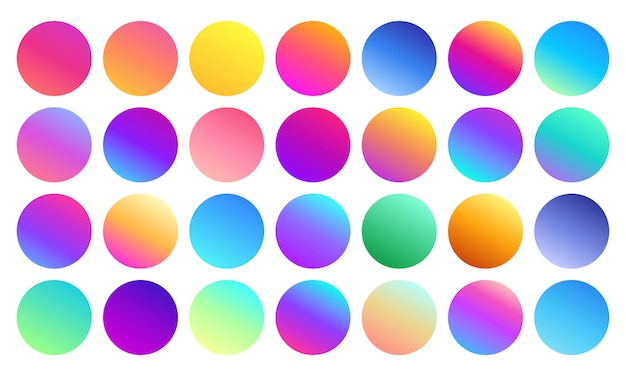 Esferas de gradiente vívidas. círculos multicolores minimalistas, colores vibrantes de los años 80 abstractos y gradientes modernos esfera conjunto aislado