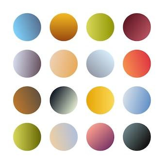 Esferas de gradientes redondos. conjunto de dieciséis degradados multicolores de moda. ilustración vectorial