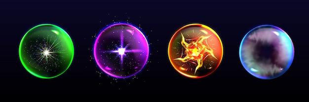 Esferas mágicas, bolas de cristal de diferentes colores con destellos.