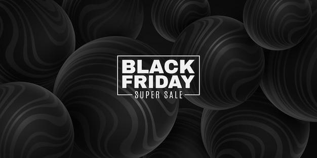 Esferas negras 3d con patrón de rayas onduladas para la venta del black friday. diseño de geometría