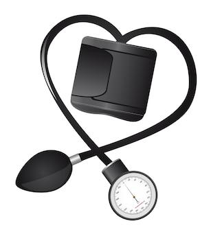 Esfigmomanómetro negro aislado en forma de corazón