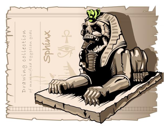 Esfinge, estatua de un perro con un cráneo humano