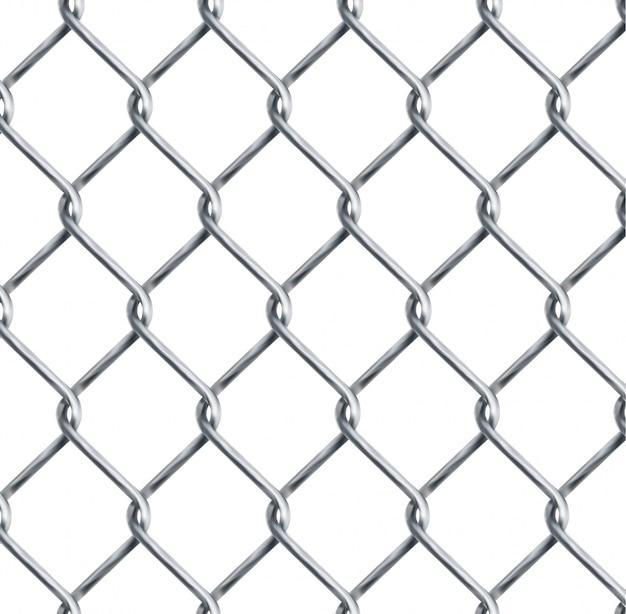 Eslabón de cadena realista, textura de esgrima de eslabones de cadena aislada en el fondo de transparencia, ilustración de vector de elemento de diseño de valla de malla de alambre de metal.