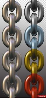 Eslabones de cadena de metal realistas sin costura