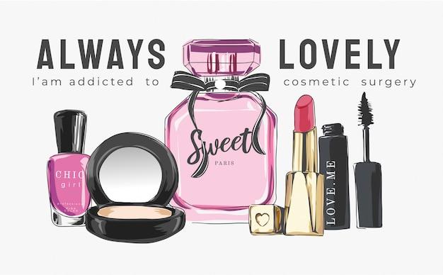 Eslogan con cosmética e ilustración de perfumes.