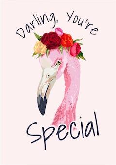 Eslogan con ilustración de flamenco y corona floral.