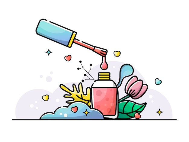 Esmalte de uñas. barniz de gota está goteando ilustración