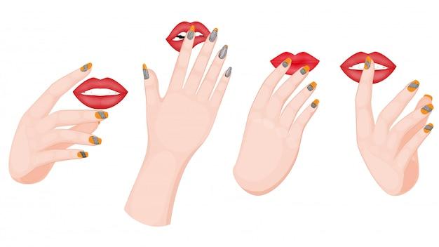 Esmalte de uñas manos y labios en varios gestos sobre fondo blanco.