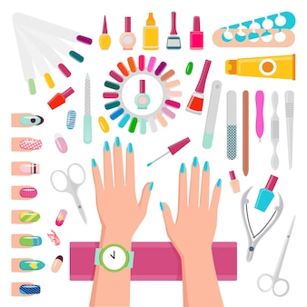 Esmaltes de uñas, instrumentos de manicura.