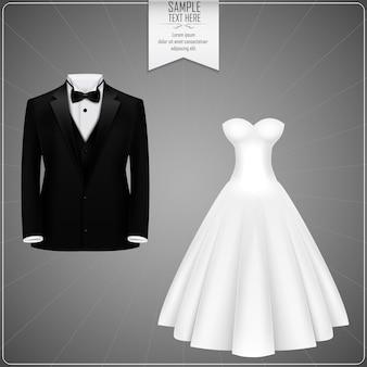 Esmoquin negro y vestido de novia blanco