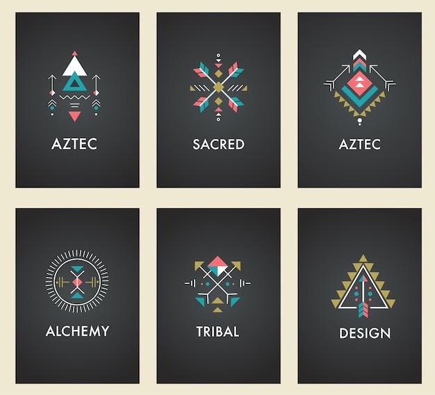 Esotérico, alquimia, geometría sagrada, tribal y azteca, geometría sagrada, formas místicas, símbolos