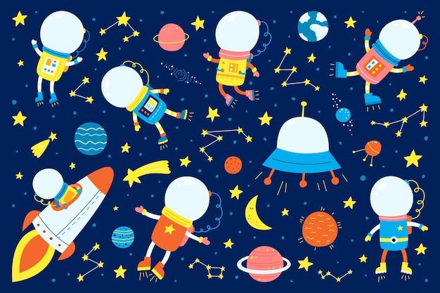 Espacio y astronautas con planetas.