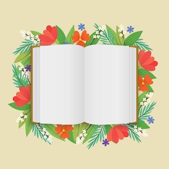 Un espacio en blanco abrió el libro blanco con flores en estilo plano