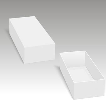 Espacio en blanco del embalaje abierto de la caja de cartón para el regalo.