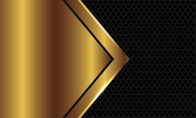 Espacio en blanco de flecha de oro abstracto sobre fondo de malla de círculo gris oscuro.