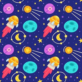 Espacio, cielo nocturno plano de patrones sin fisuras