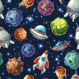 Espacio cómico con planetas y naves espaciales. diseño de dibujos animados, estrellas y ciencia de cohetes. patrón transparente de vector