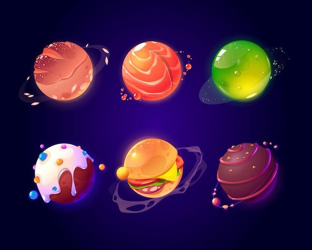 Espacio con comida planetas, hamburguesa y textura de caramelo