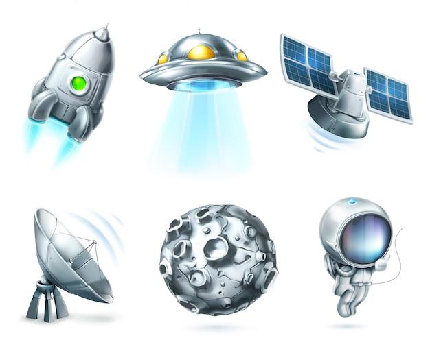 Espacio, conjunto de imágenes prediseñadas de vector