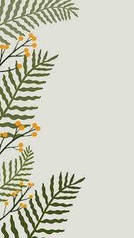 Espacio de copia botánica frondosa sobre un fondo de teléfono gris