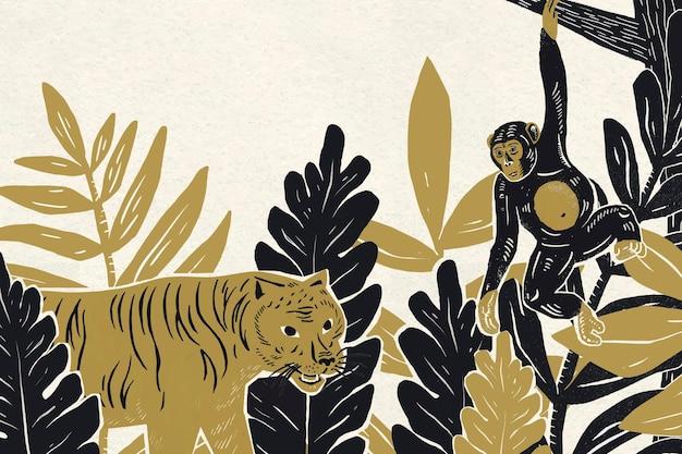 Espacio de copia de fondo botánico de vector de animales vintage